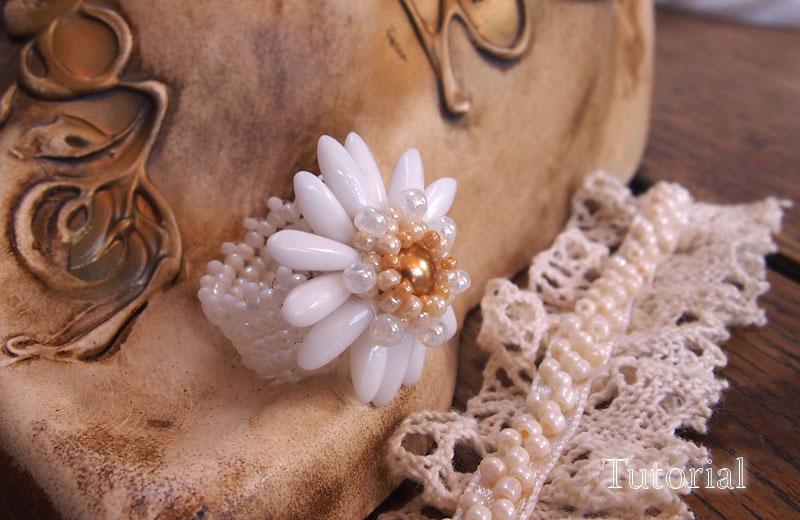 beaded ring tutorial, flower ring beading pattern