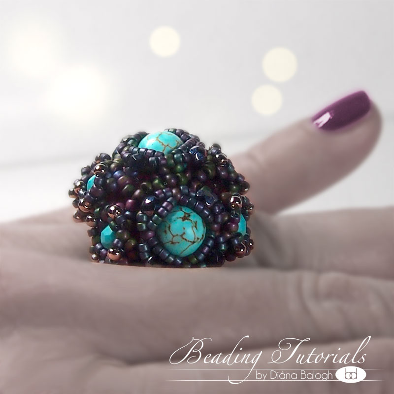 Beaded ring tutorial, Aglio cocktail ring pattern download