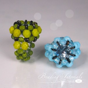 RAW ring beading tutorial, beading around a crystal rivoli