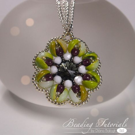 piggy beads beading tutorial, flower pendant tutorial