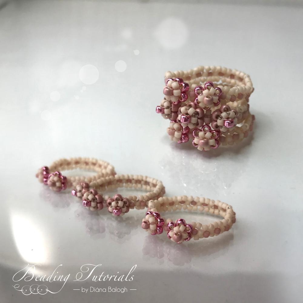 Flower ring tutorial, easy to make beading tutorial