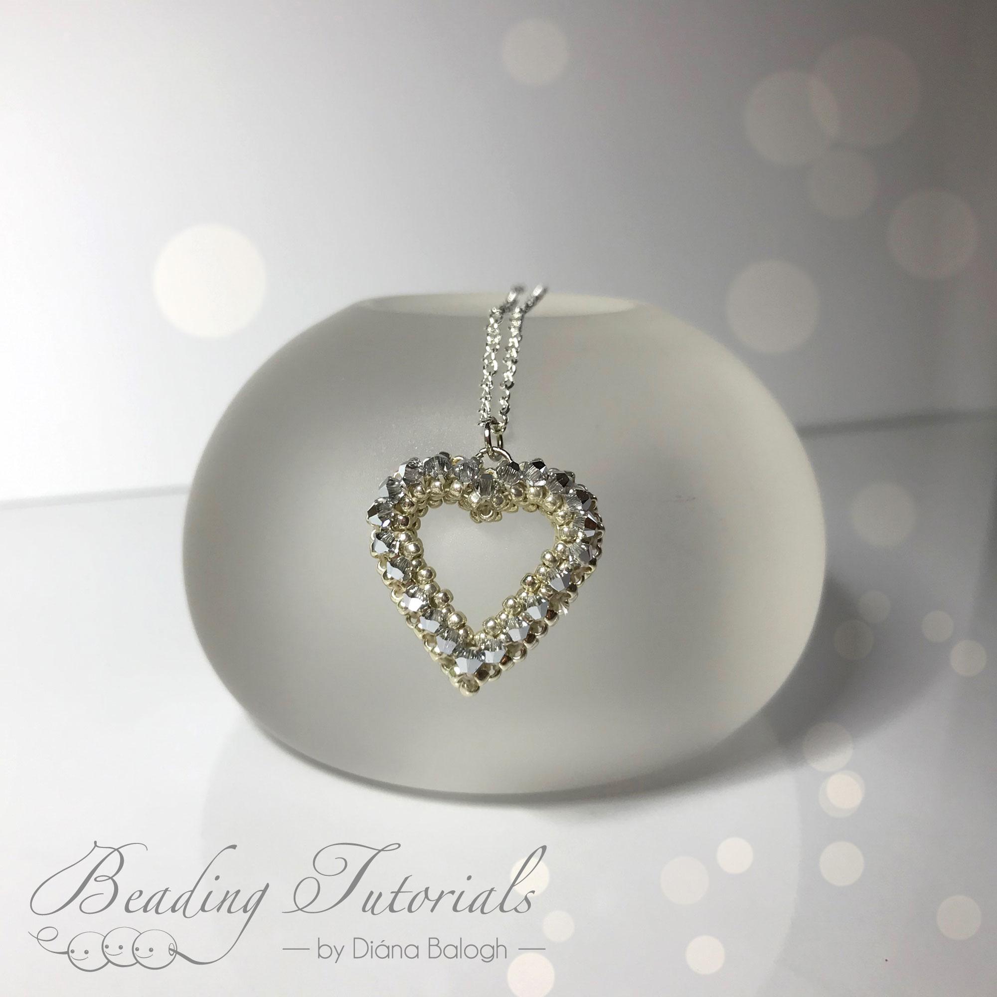 Swarovski heart pendant beading pattern