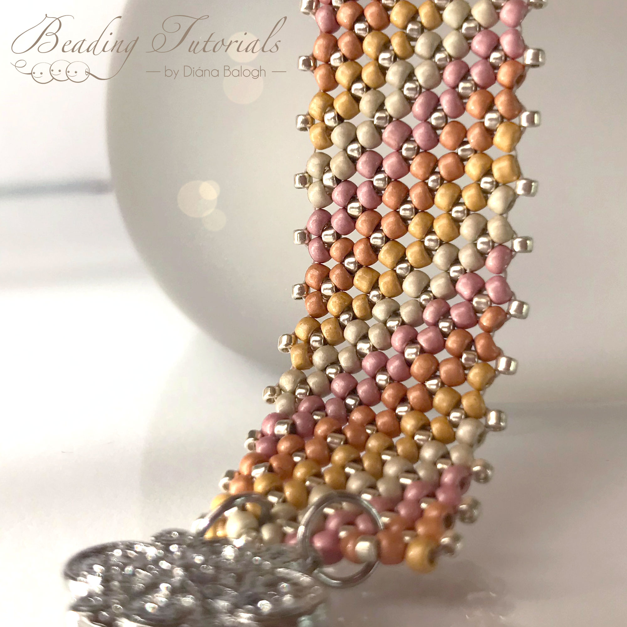 Nadia bracelet beading tutorial by Diána Balogh