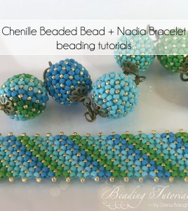 Flat chenille bracelet and chenille beaded bead beading tutorial by Diána Balogh