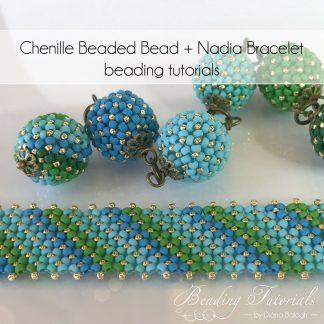 Flat chenille bracelet and chenille beaded bead beading tutorial by Diána Balogh