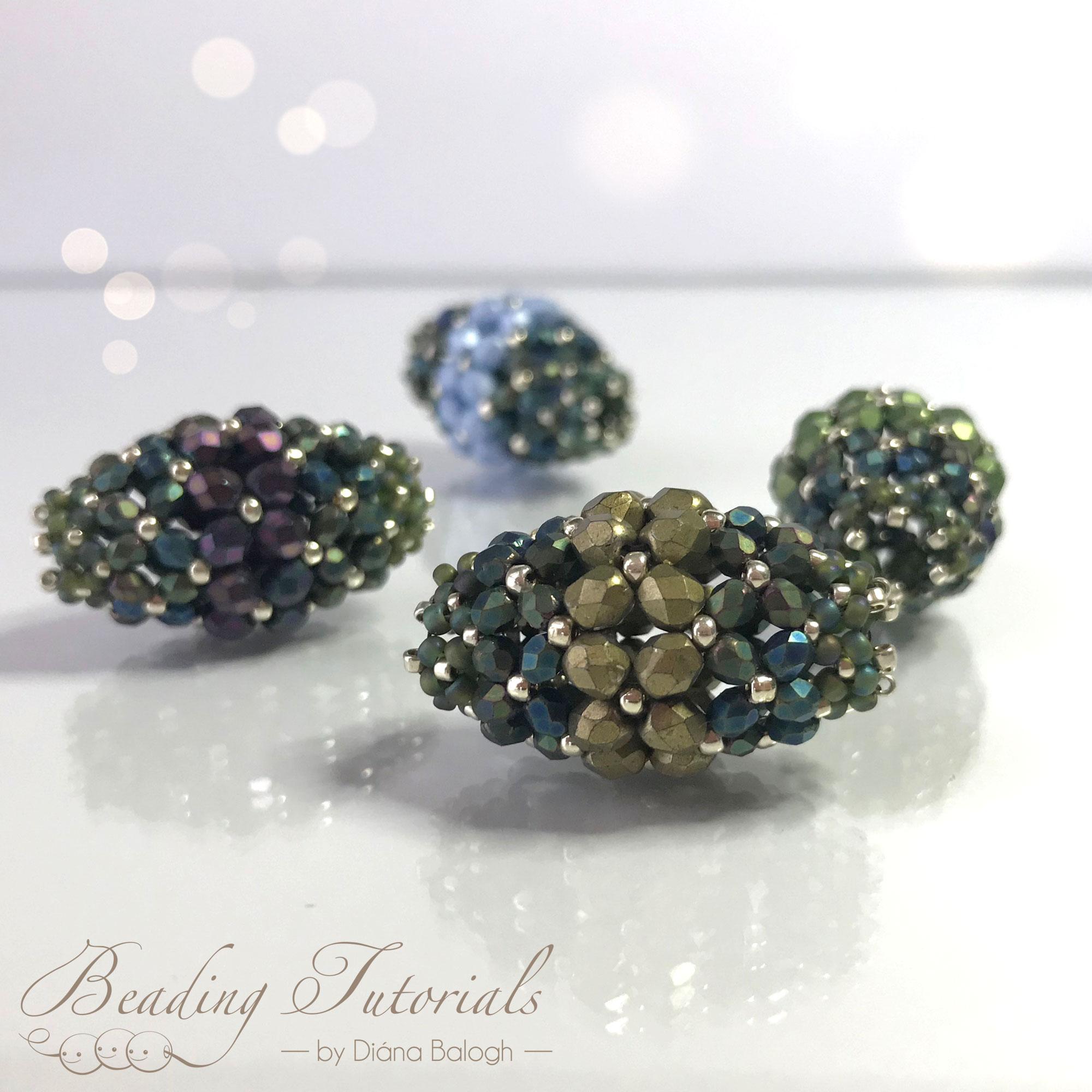 Ramya beaded bead beading tutorial, beading pattern by Diána Balogh