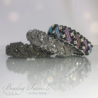 bracelet beading tutorial, Andrea bracelet beading pattern by Diána Balogh