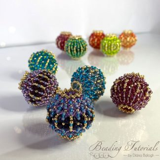 lantern beaded bead Flat Chenille Stitch beading tutorial by Diána Balogh