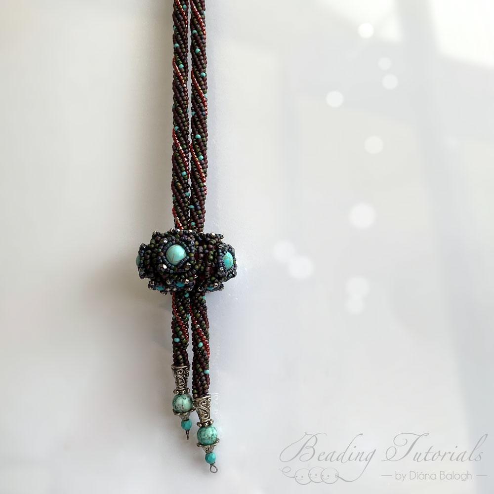 Aglio beaded bead pendant beading tutorial, beading pattern by Diána Balogh