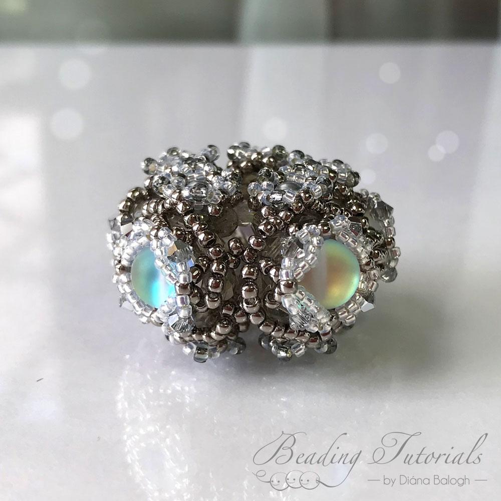 mermaid beads beading tutorial, mermaid beads beaded bead by Diána Balogh