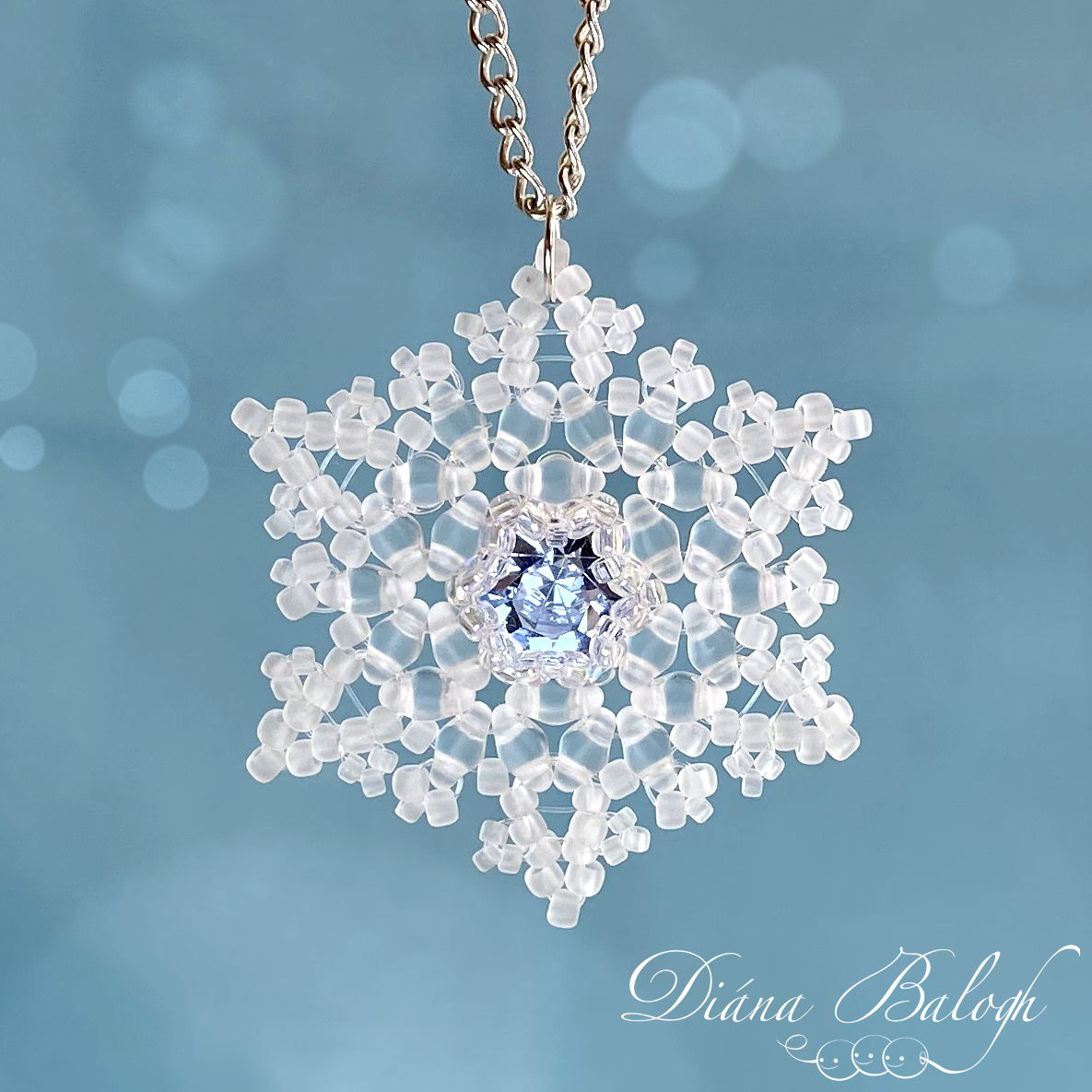 Beading tutorial Rimed Snowflake