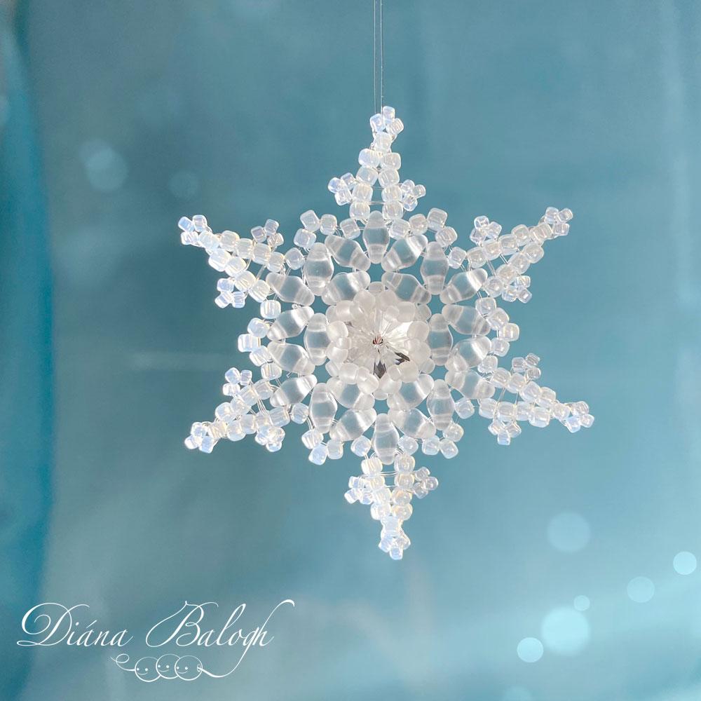 beading tutorial fernlike stellar snowflake, beading pattern snowflake
